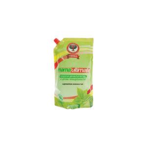 Антибактериальное концентрированное средство для мытья посуды «Зеленый чай» (запасной блок), 1 л, Mama Ultimate